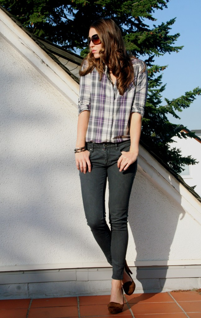 TOPSHOP check shirt & Blank denims
