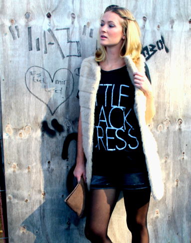 LBD with faux fur vest