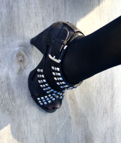 Close-up studded booties