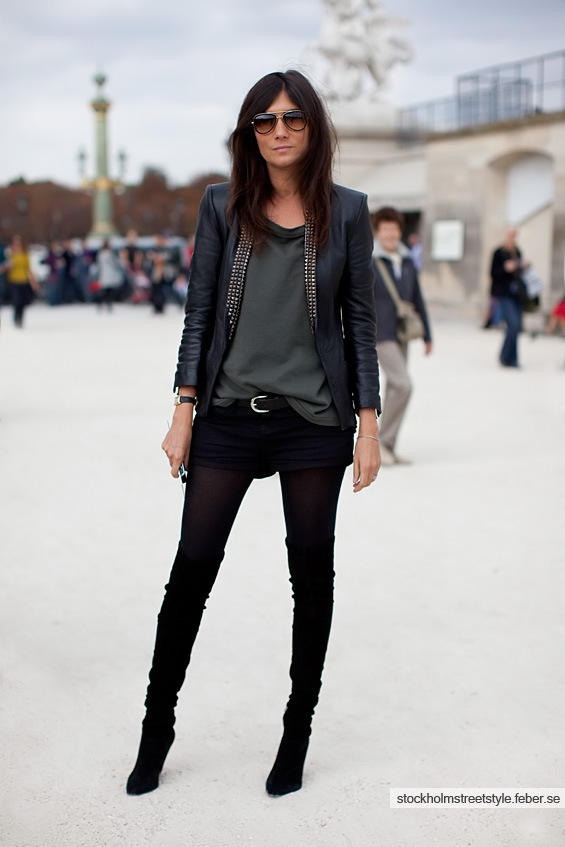 Emanuelle Alt in overknee boots and shorts