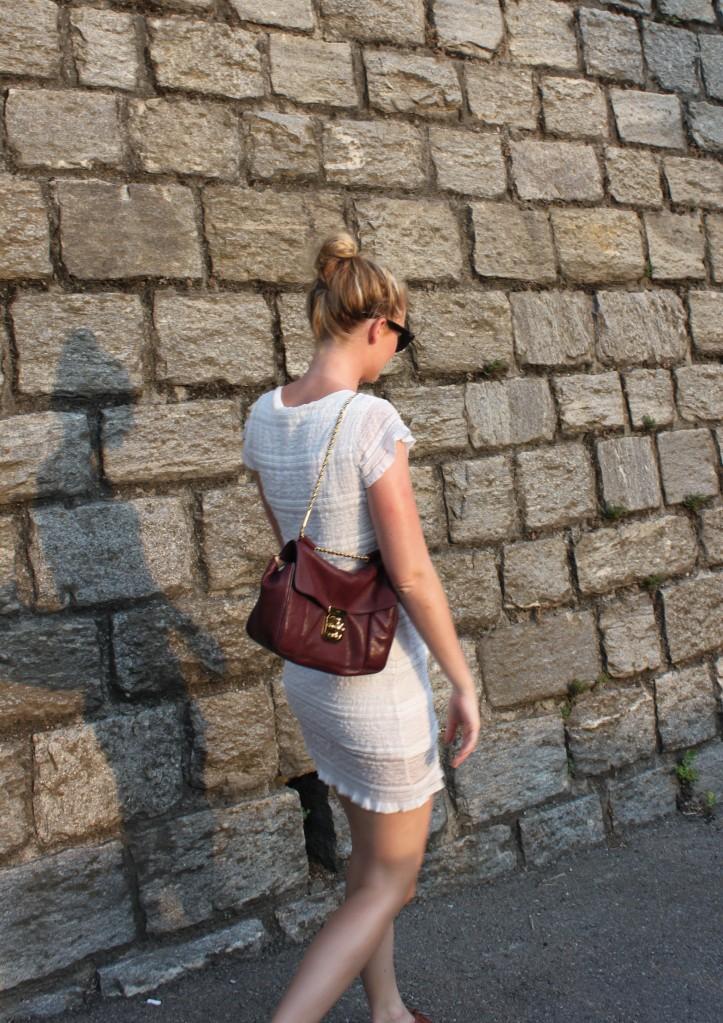 Chloé Elsie bag and lace dress