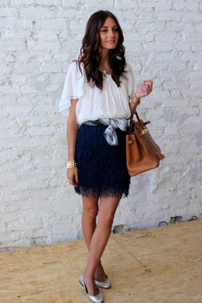 Olivia Palermo with a tan Hermès Birkin bag