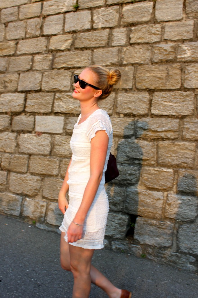 summer lace dress and fall brogues