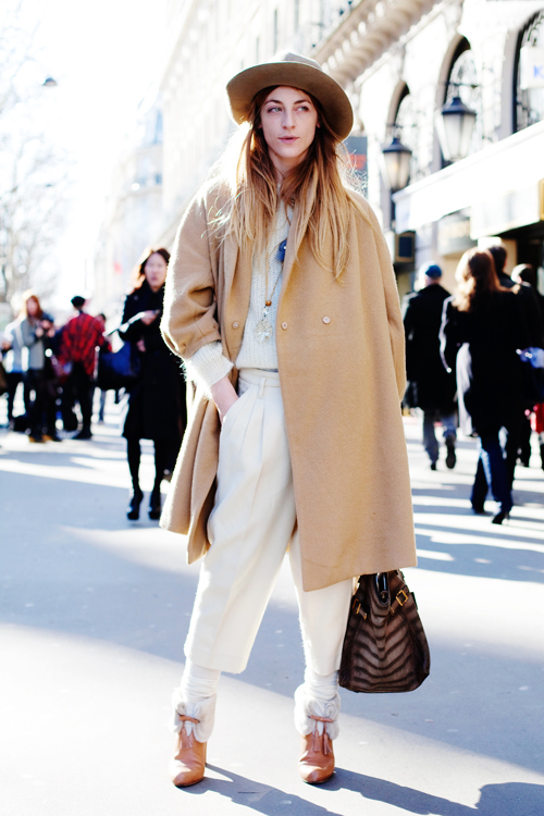 camel coat and YSL bag
