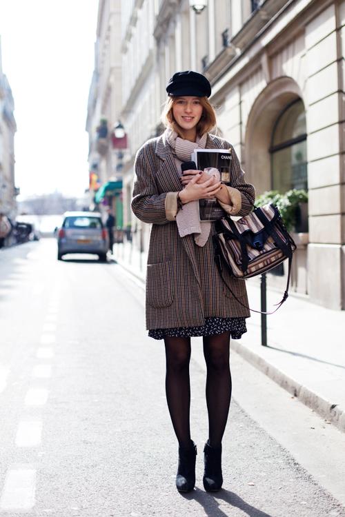 wool coat and satchel bag