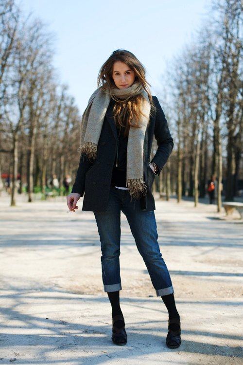 jacket and boyfriend jeans via the sartorialist