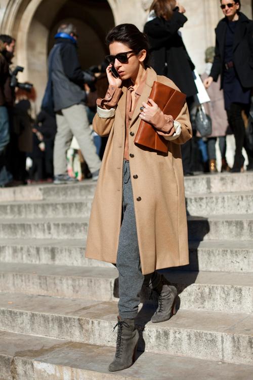 clutch and camel coat