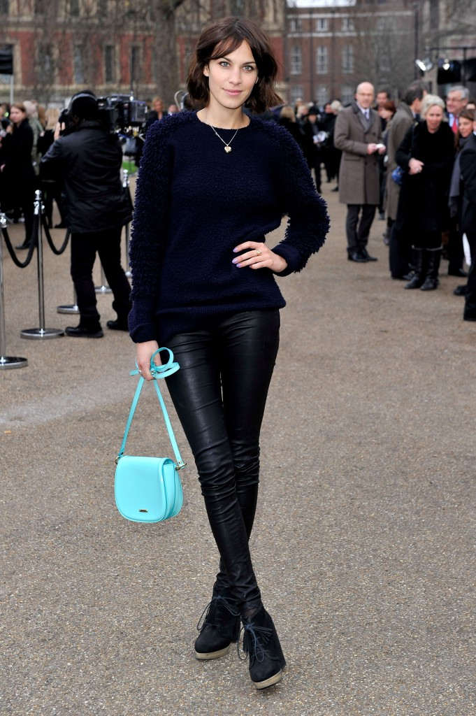Alexa Chung with Burberry Prorsum patent leather bag turquoise