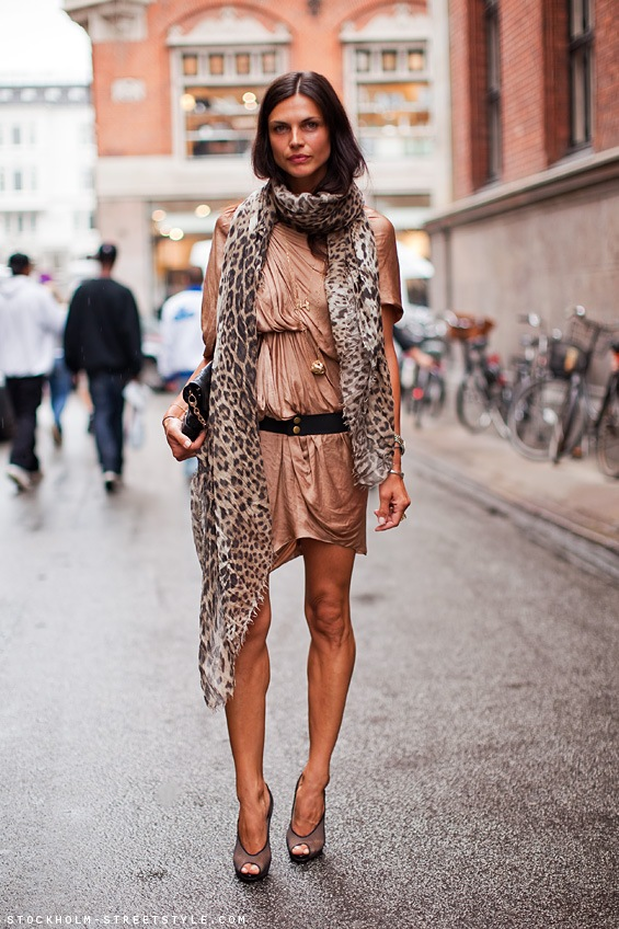 nude wrap dress and leo scarf stockholm streetstyle