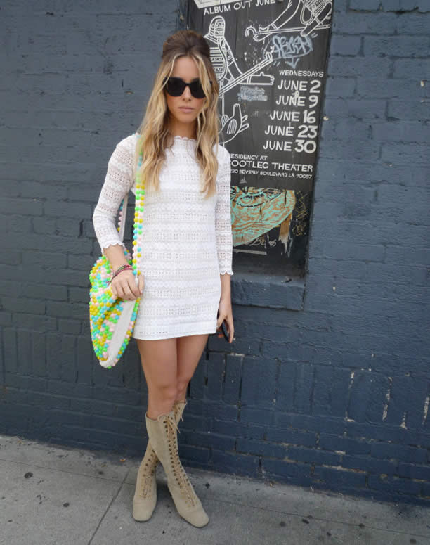 Gillian Zinser white crochet mini dress Coachella
